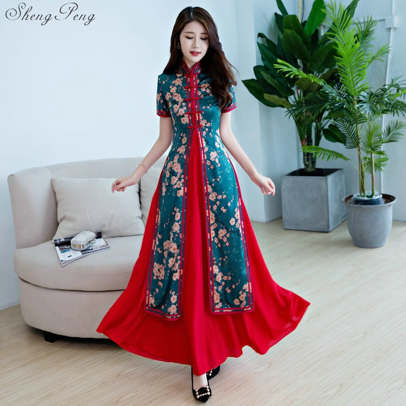 2 uds verano vietnam ao dai Cheongsam vestido nuevo Delgado tradicional chino ropa para mujer Qipao vestido largo chinoise moderno V925