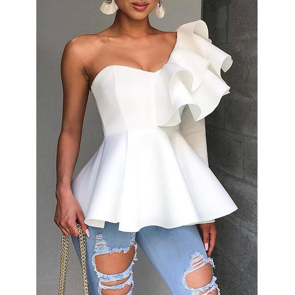 Un hombro cremallera Up péplum colmena Tops mujeres una manga larga blusa blanca camisa elegante señoras blusa de fiesta verano 2019 blusa