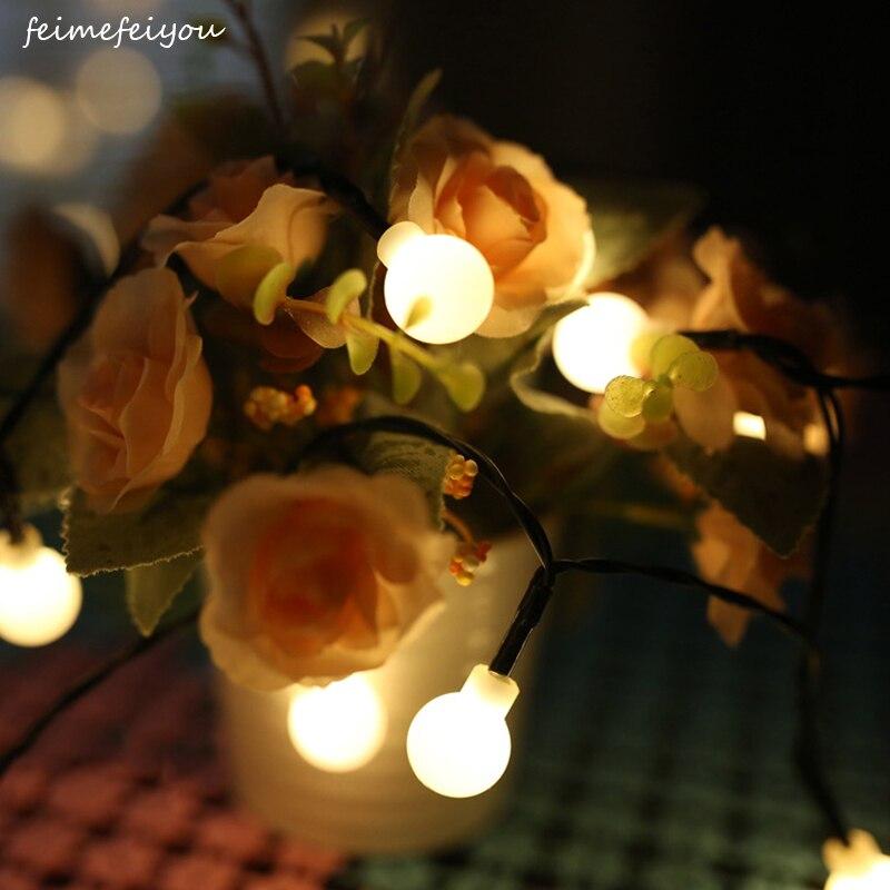 Feimefeiyou 8 M 80 LED con pilas LED al aire libre bola cadena luz para Navidad boda Hada luz decorativa azul /RGB/blanco