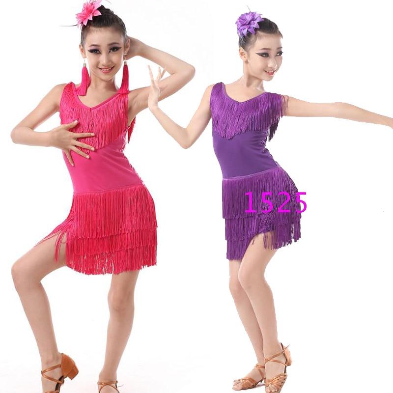 Kinder Professionellen latin Tanzen Kleidung Mädchen Latin Gesellschaftstanz Kleid Kinder Salsa Quasten Bühne Dancewear Kostüme Kleid