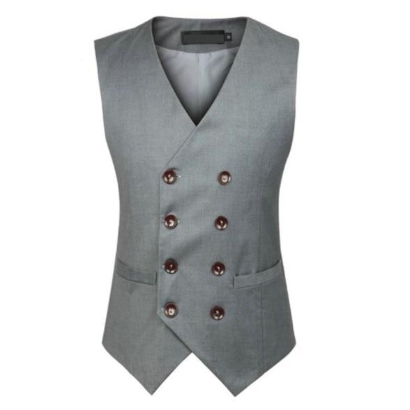 Mens Slim Fit Vest Waistcoat for Men Double Breasted Blazer Suit Vest Casual Men's Formal Vest Black Grey Sleeveless Jacket