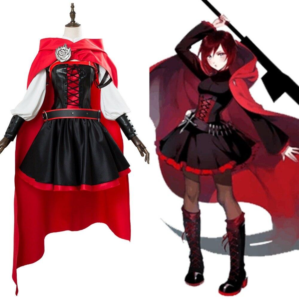 Disfraz de Cosplay Battler Ruby Rose, traje de capa, traje de uniforme de Halloween