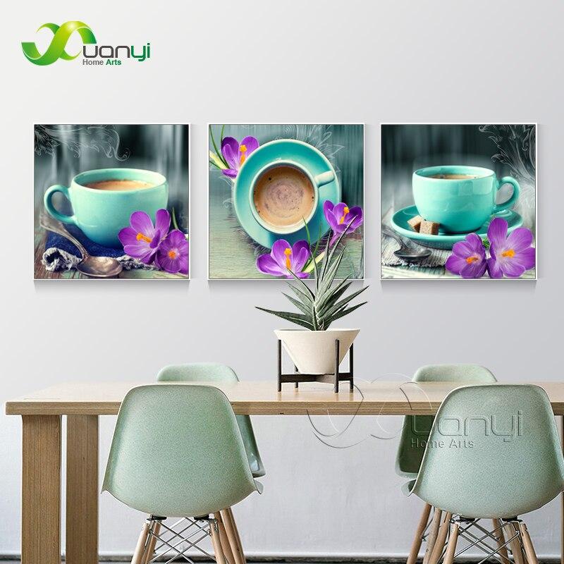 3 painel Abstrata Moderna da Arte Da Parede Do Café Pintura Still Life Canvas Pictures Para Cozinha Café Arte Da Parede Pintura A Óleo Sem Moldura