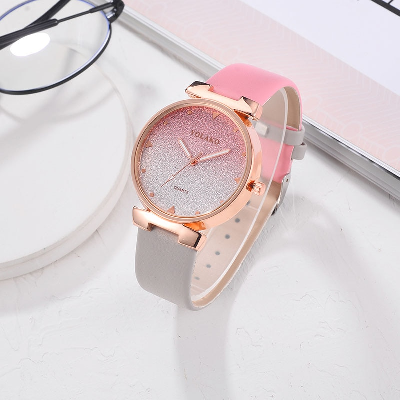 Feminino cor gradiente dial band quartzo relógio de pulso pulseira de couro do plutônio relógio casual lxh