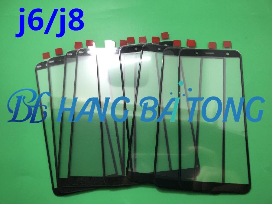 50 unids/lote Original LCD frontal pantalla táctil exterior reemplazo de lentes de vidrio para samsung galaxy J6 J600 J600F J8 J810 J810F