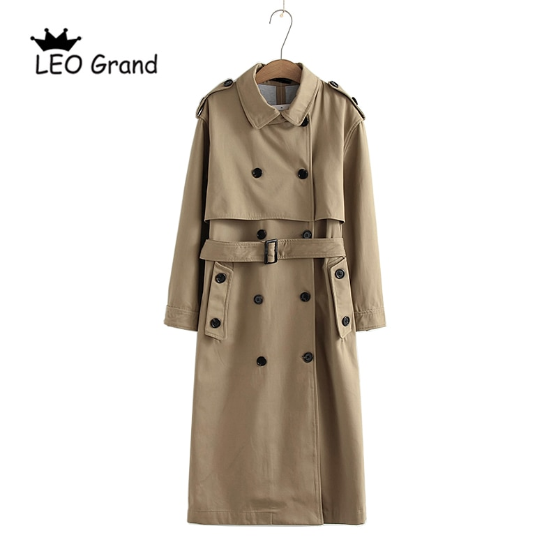 Vee Top women casual solid color double breasted outwear fashion sashes office coat chic epaulet des