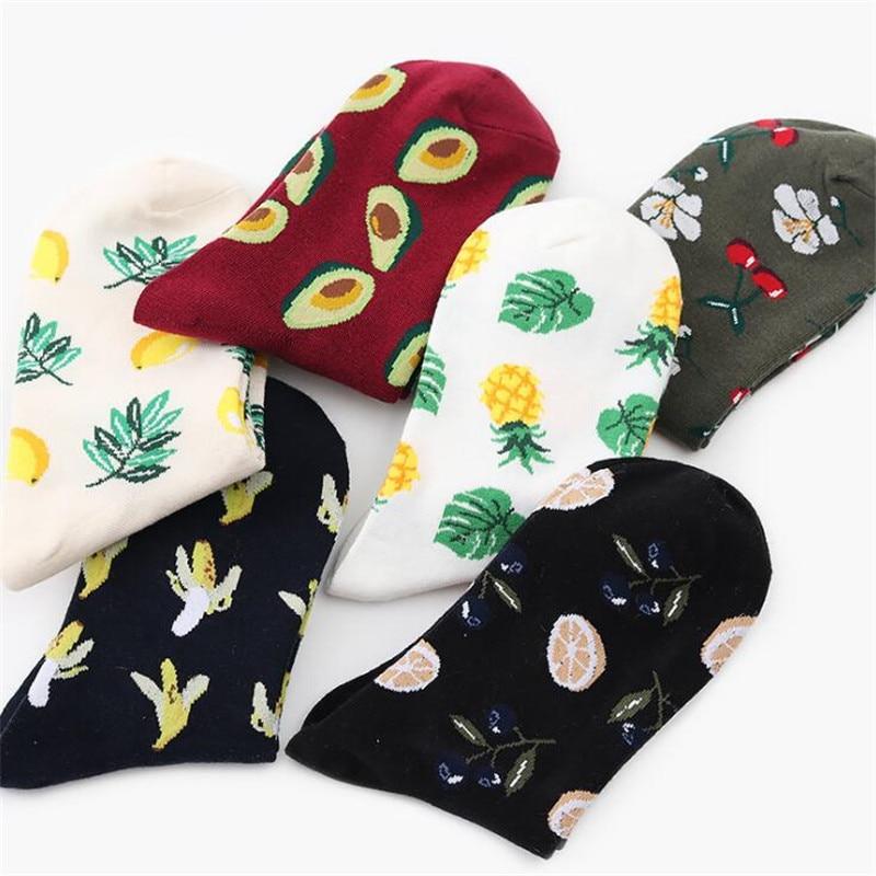 Mujer coreana calcetines de frutas de piña, aguacate Banana flamencos calcetines invierno cálido calcetines de mujer Calcetines Harajuku la Navidad, Ginebra, chocolate, vino, si puede leer esto traer vino de