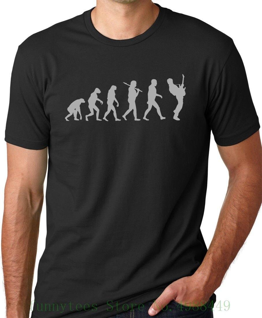 Camiseta del jugador de la guitarra Evolution Original obra de arte músico Cool Shirt 100% de algodón estampado para hombre de verano cuello redondo