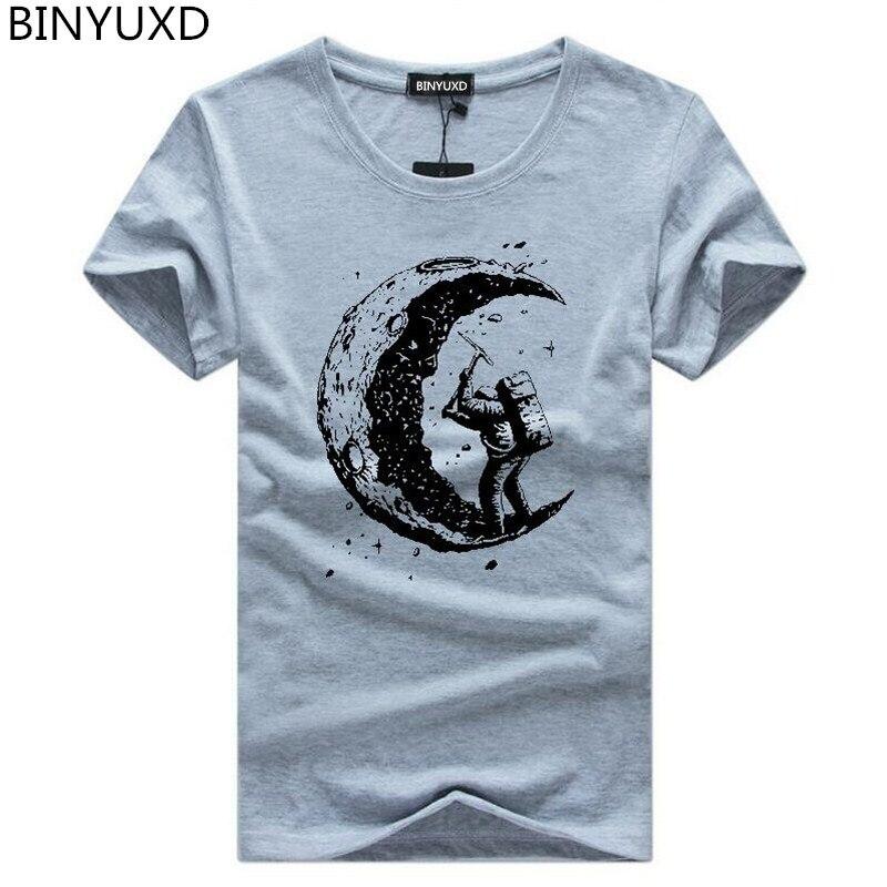 Brands Men's T-shirt digging the moon print casual mens o-neck t shirts fashion men's tops men T-shirt short sleeve men tshirt