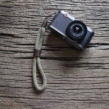 Cam-in WS024 4100-4109 1cm diámetro Cowskin y algodón Cámara cinta grabadora correa de muñeca cuero DSLR spire lamella cinturón de mano 27,5 cm de longitud