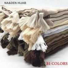 Lenço com borla liso hijab 1pc 13 cores, echarpe xale com tassel