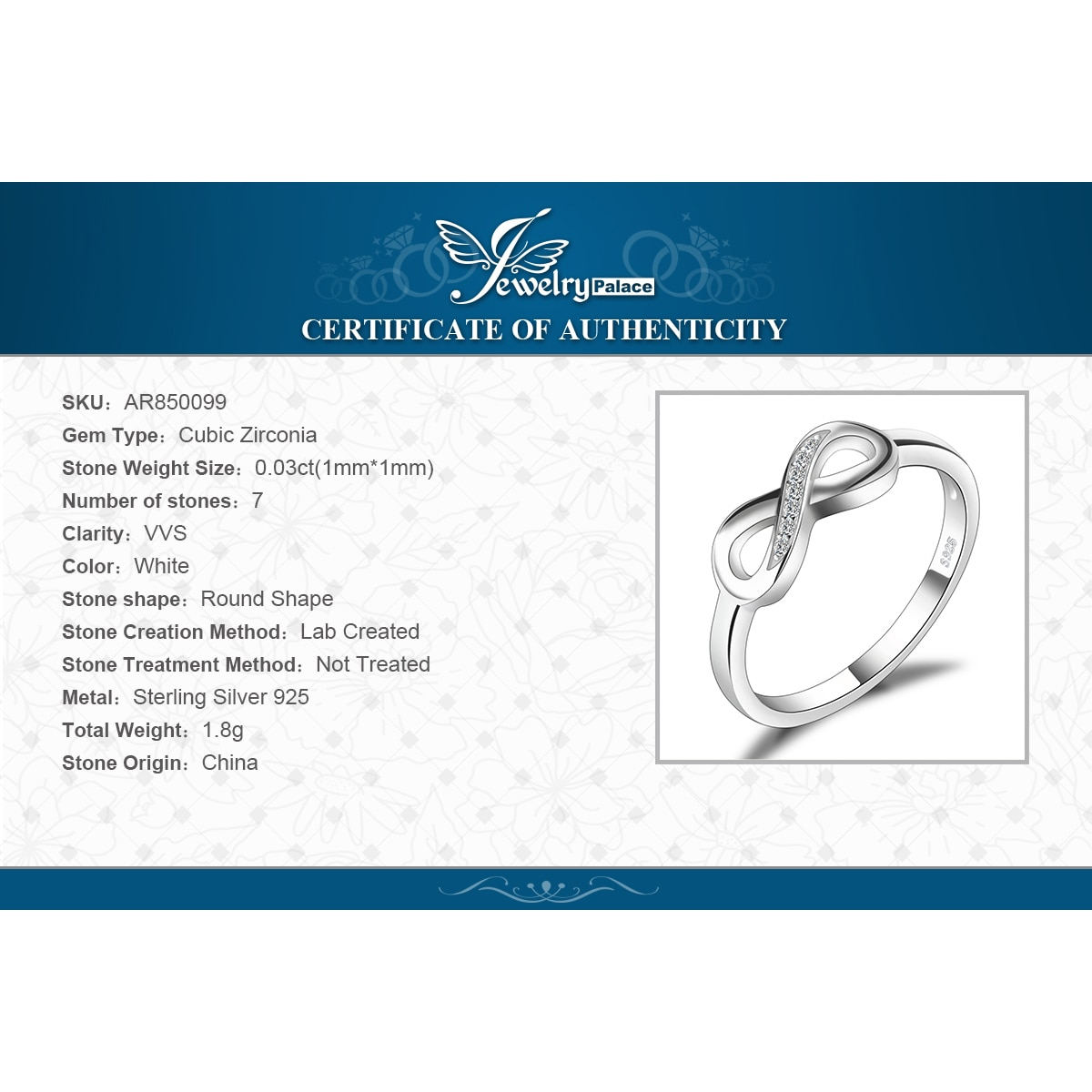 Купить с кэшбэком JewelryPalace Infinity Knot Love 925 Sterling Silver Ring Cubic Zirconia Stakable Promise Korean Finger Rings for Women Girl