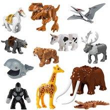 Animales de bloques de construcción ladrillo mamut orangután Tigre dinosaurio alce Lobo caballo Mini figura juguete para niños compatible con