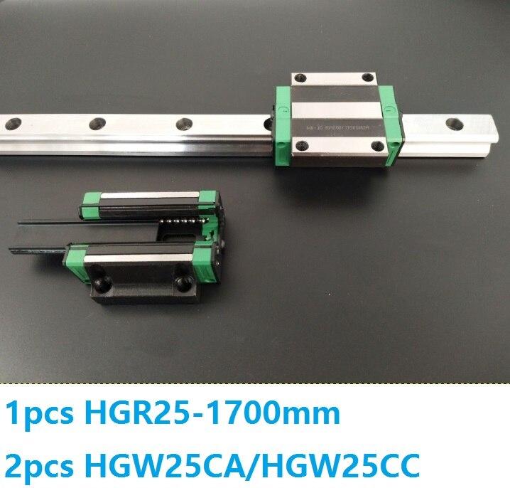 1 قطعة دليل خطي السكك الحديدية HGR25 1700 مللي متر + 2 قطعة HGW25CC/HGW25CA خطي كتل النقل ل CNC راوتر أجزاء مصنوعة في الصين