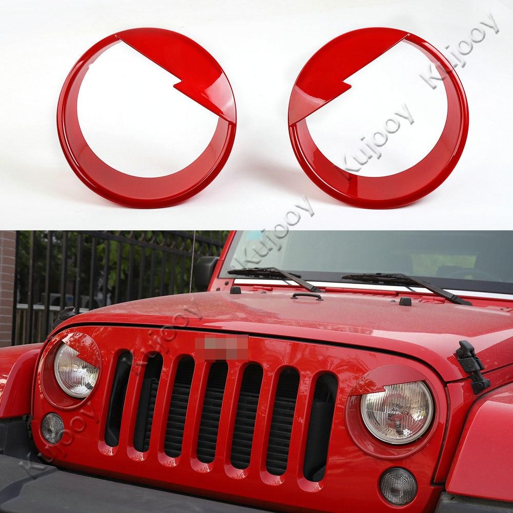 Embellecedor de marco de faro delantero naranja/rojo/azul/blanco/rosa para Jeep Wrangler 2007-2017 accesorios interiores de estilo de coche