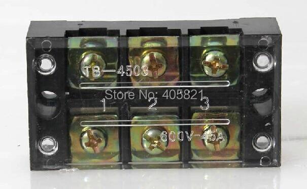 5 uds TB-4503 600V 45A doble fila 3 posiciones tornillo barrera bloque Terminal