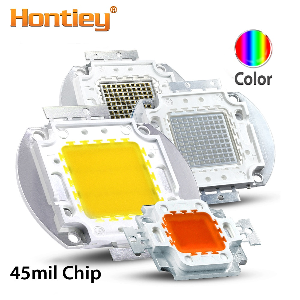 Hontiey, 45mil, Chip LED de alta potencia, lámpara integrada, Azul, Naranja, Rosa, amarillo, rojo, espectro completo, blanco, 10 W, 20 W, 30 W, 50 W, 100W
