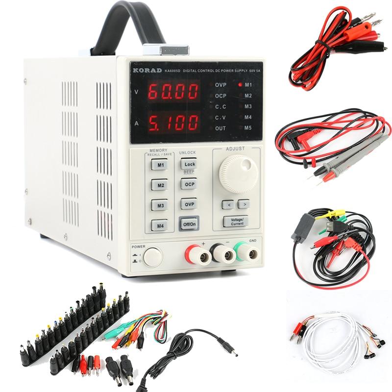 KA6005D, fuente de alimentación CC Digital ajustable y de precisión, fuente de alimentación de laboratorio, 60V, 5A, 4Ps, mA + AC, kit de reparación de conector CC