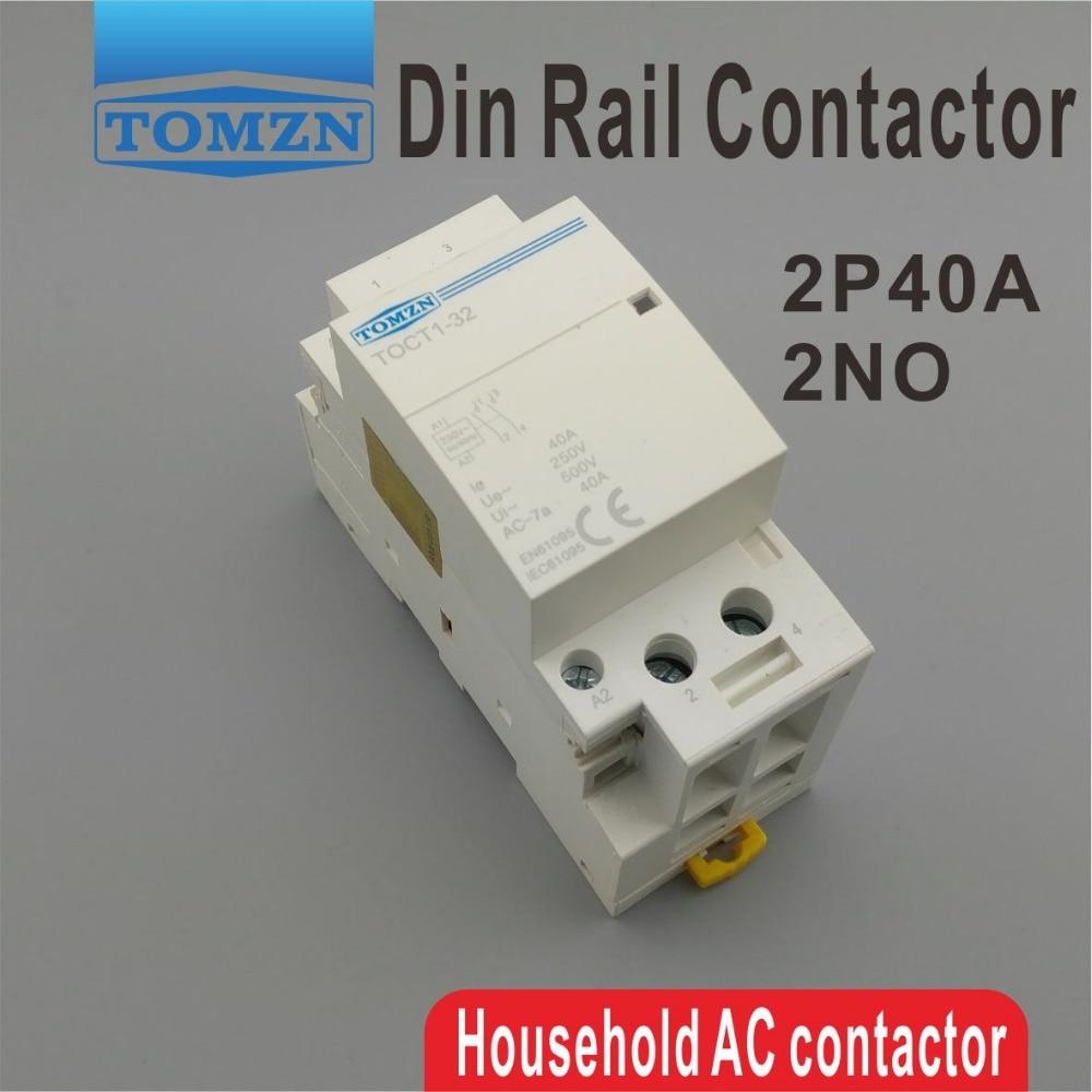 CT1 2P 40A 220V/230V 400V ~ 50/60HZ, carril Din hogar ac contactor...