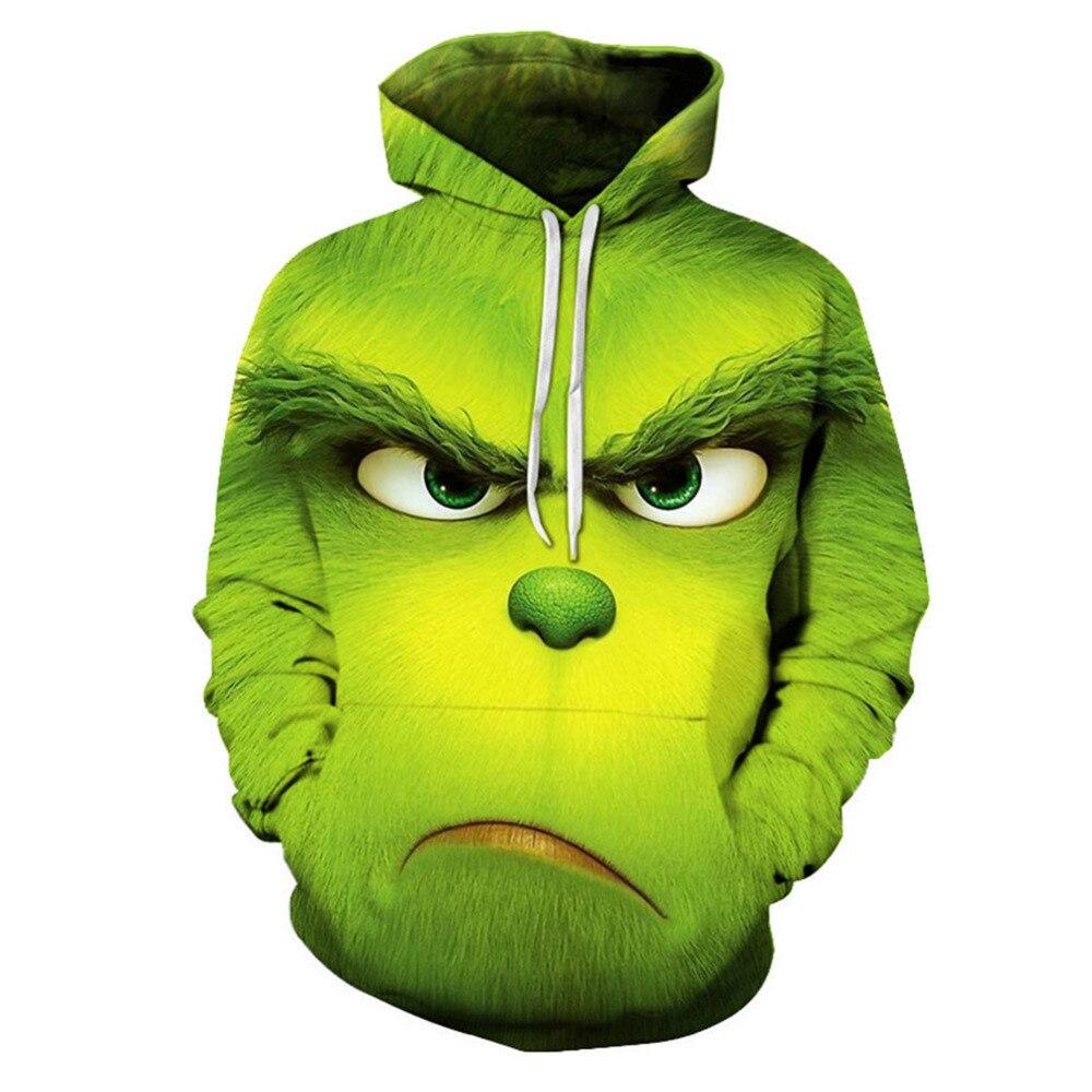 Толстовка с капюшоном и 3D принтом для взрослых, мужская и женская толстовка, куртка, пуловер с рисунком, Забавный Топ, футболка зеленого цвета, костюм для Хэллоуина