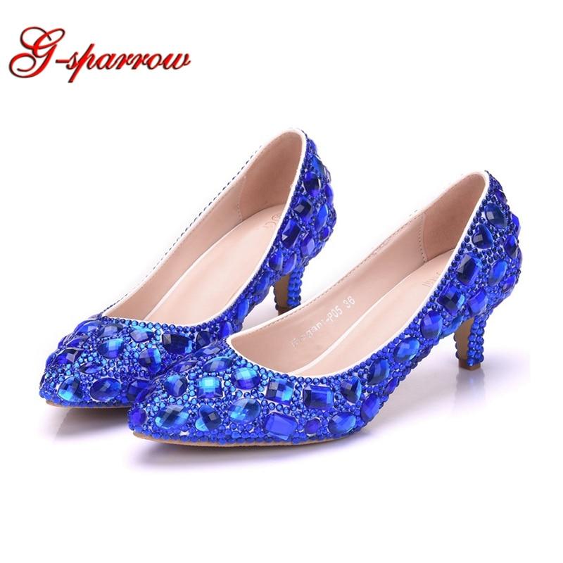 Zapatos de cristal para boda de 5cm, zapatos de tacón de Cenicienta medio con diamantes de imitación para fiesta de gala, zapatos de vestir formales para mujer, azul real, dorado, morado