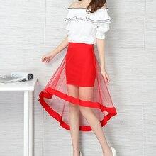 XXL Women Lace Up Waist Ruffles Skirts Gothic Style Elegant Punk Party Skirts Swing Irregular High Waist Feminino Office Skirt