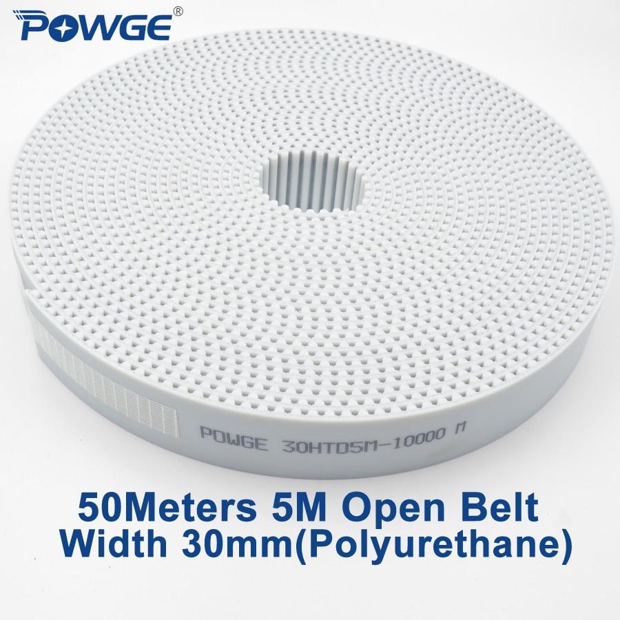 POWGE 50 metros arco diente PU blanco HTD 5M conteo de tiempo abierto cinturón 5 M-30mm de ancho 30mm Acero de poliuretano 30HTD5M polea de correa sincrónica