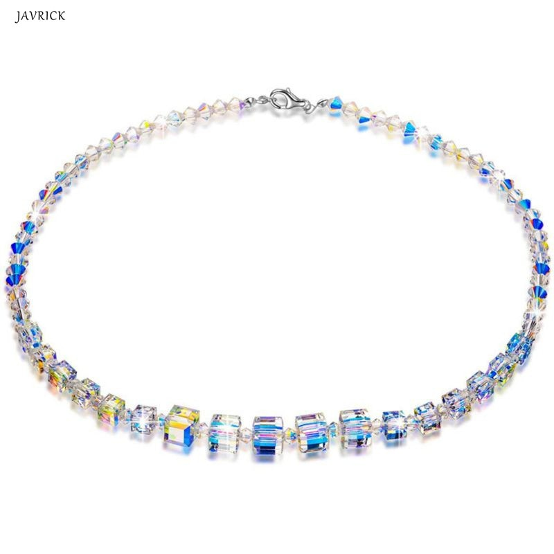Elegante arco-íris aurora cristais colar gargantilhas para mulheres moda jóias presente romântico para meninas