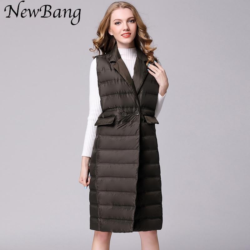 NewBang-سترة نسائية طويلة ، خفيفة للغاية ، معطف طويل بلا أكمام ، سترة بياقة مقلوبة