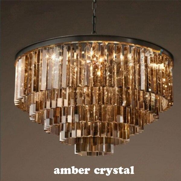 Lámpara colgante grande Retro de cristal americano de lujo, lámpara LED E14 para restaurante, iluminación de pasillo, lámpara de cristal de tres colores