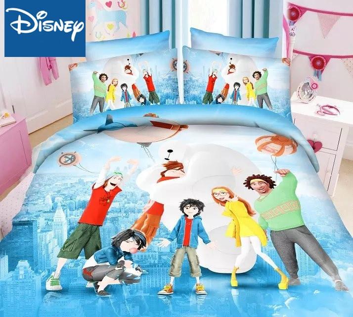 ديزني كبير بطل 6 حجم واحد المعزي طقم سرير ل سرير أطفال أغطية لحاف الديكور 99x190 سنتيمتر السرير التوأم ورقة مسطحة 2/3 قطعة