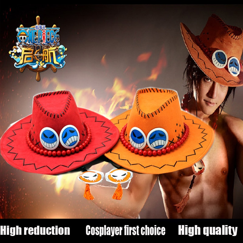 Ace-sombrero para Cosplay de una pieza, sombrero para Cosplay de Anime, gorros...