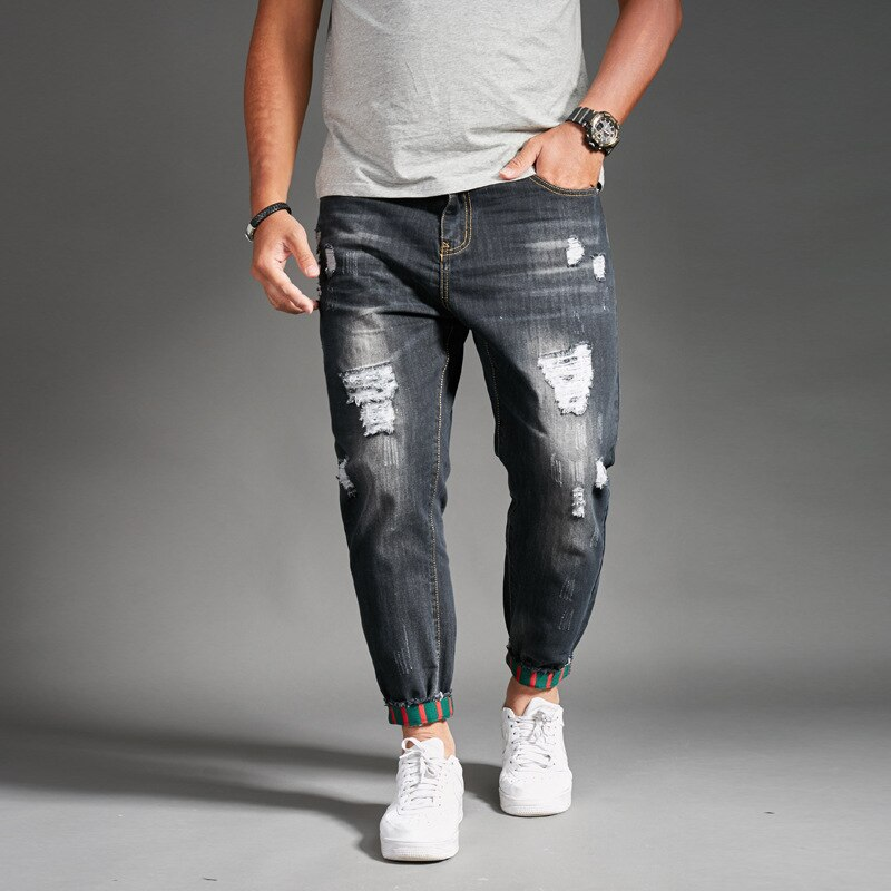 Spring New Beam jeans Men's Hole Small Feet tide Brand Pants Korean version of the Elastic Foot pants Loose size Harem Pants