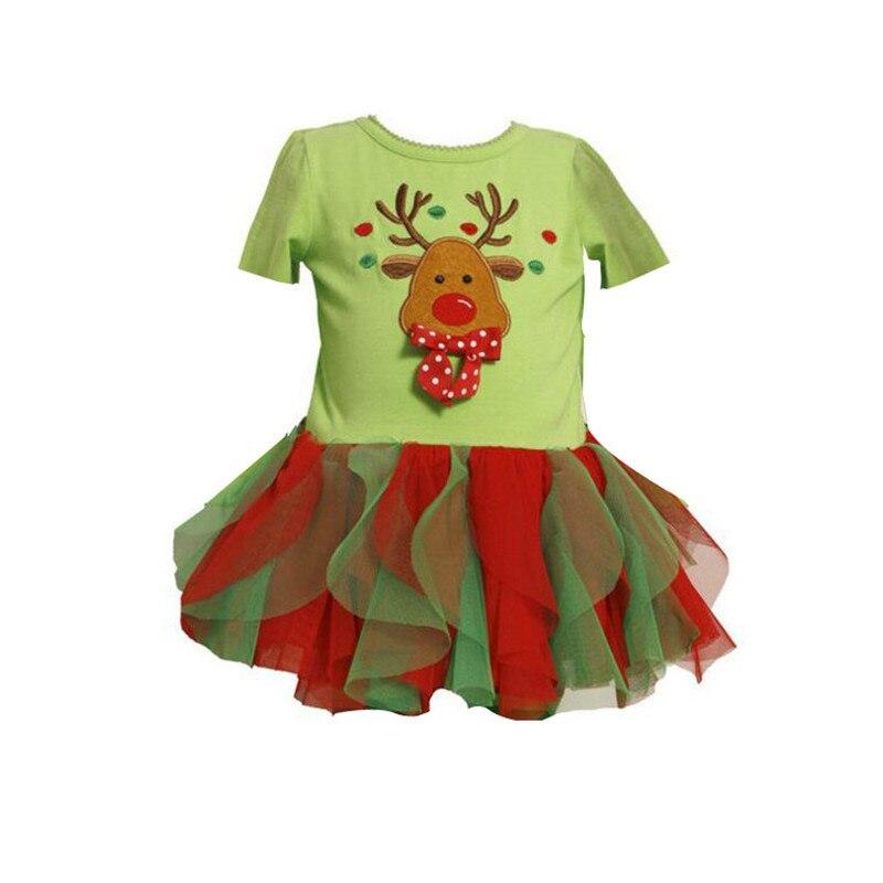 (5 unids/lote) 2018 vestido de Navidad para niños ropa de manga corta tutú vestido de baile de dibujos animados pequeño Fawn impreso vestidos de fiesta para niñas