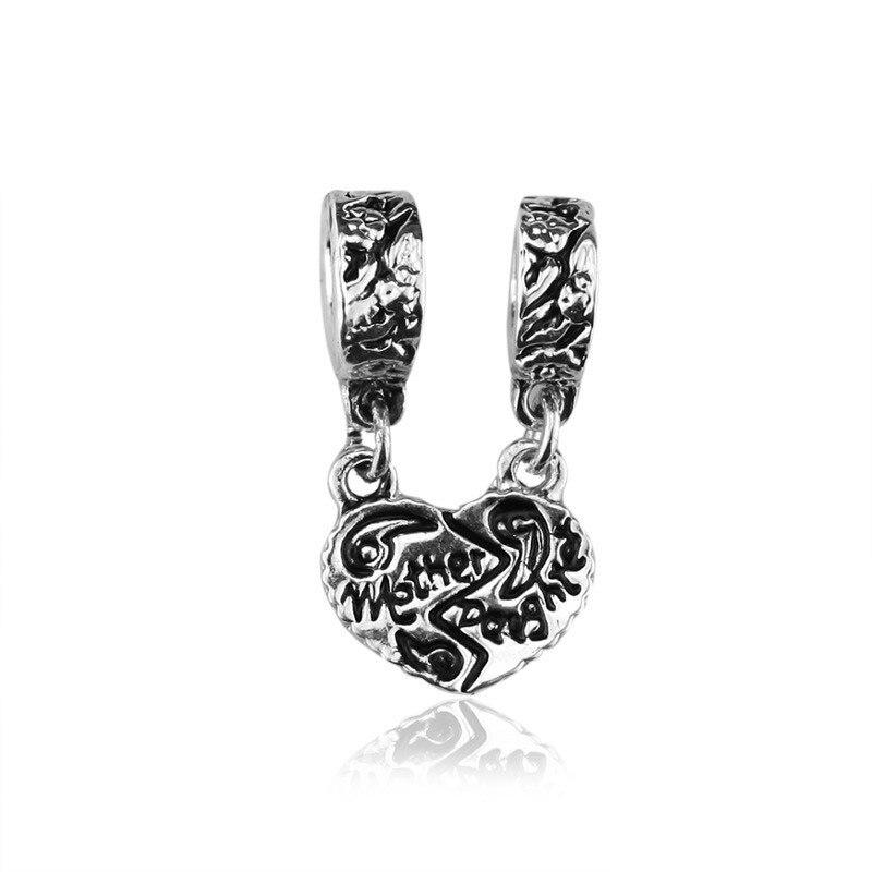 Retro jóias de prata artesanato contas mãe & filha alfabeto charme solto grânulo caber pandora estilo colar pulseira diy mãe presente