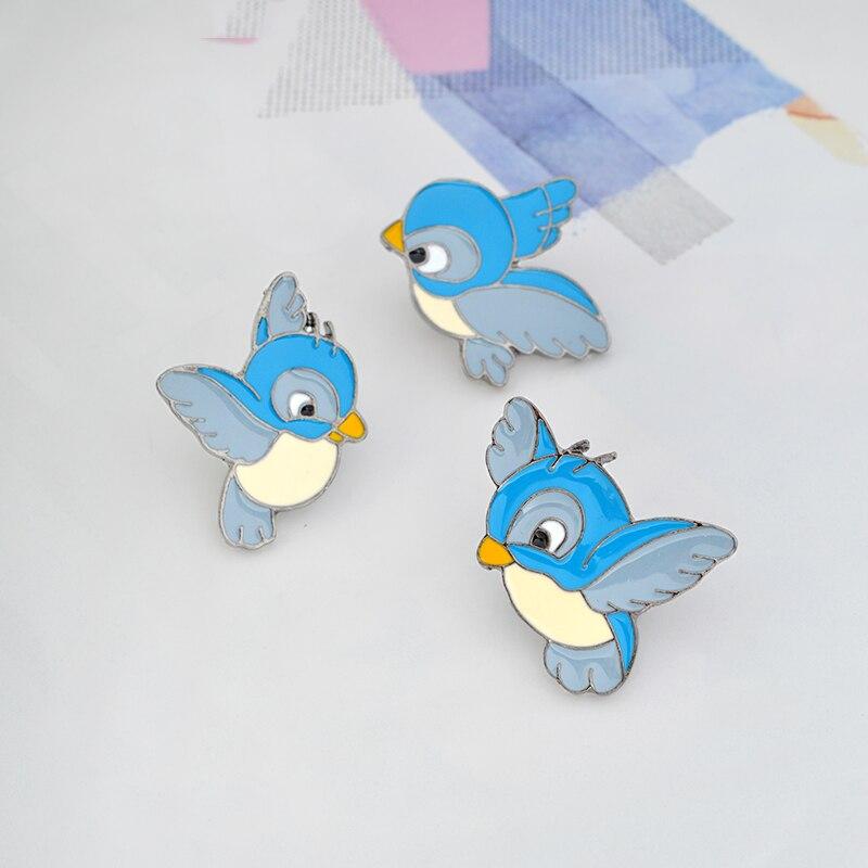 3pcs/set Cartoon Birds Animal brooch pins set Hard enamel blue birds brooch backpack pin girl boy bag accessories for men women