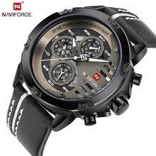 NAVIFORCE-montre de Sport en cuir pour hommes, marque de luxe, étanche, Date de 24 h, livraison directe