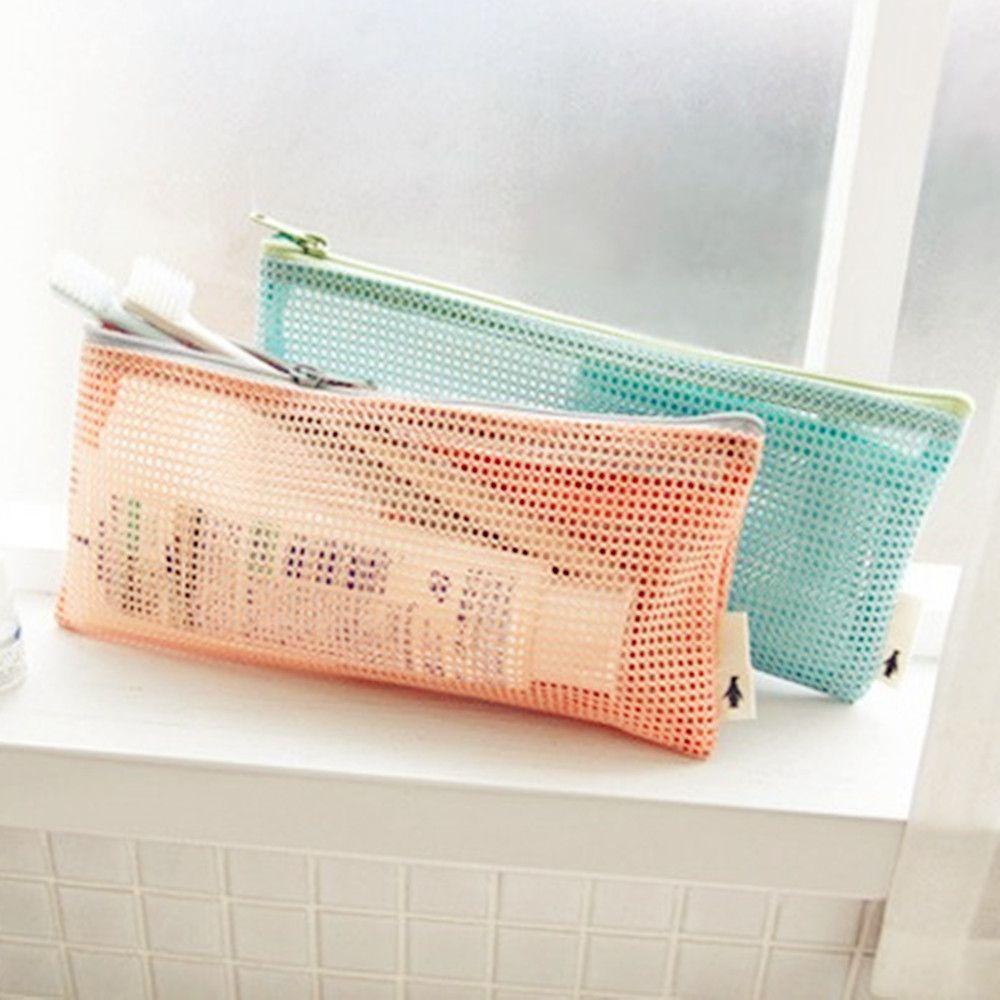 Pequeña Mini bolsa con malla para cosméticos cepillo de dientes lápiz labial maquillaje organizador bolsa cartera de mano ligera estuche