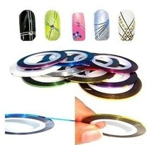 50 st Gemengde Kleur Nail Art Sticker Minx Folie Decoratie Rolls Striping Tape 50 meter konad metalen schoonheid Line Gratis verzending