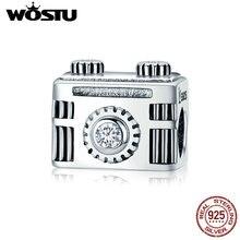Wostu Hoge Kwaliteit 100% 925 Sterling Zilver Vintage Camera Memory Box Charm Fit Charm Armband Diy Sieraden CQC516