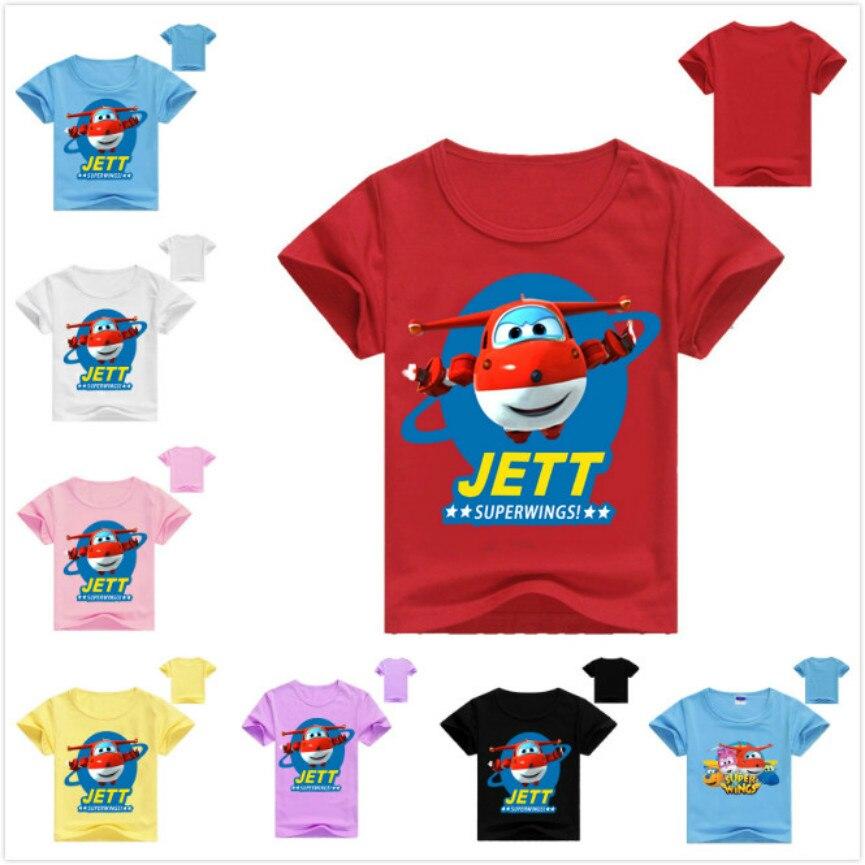 2019 Summer Super Wings T-Shirt Children Summer Kid Boys Tops School Short Sleeve T Shirts Cotton Cartoon Children Baby Girl Tee