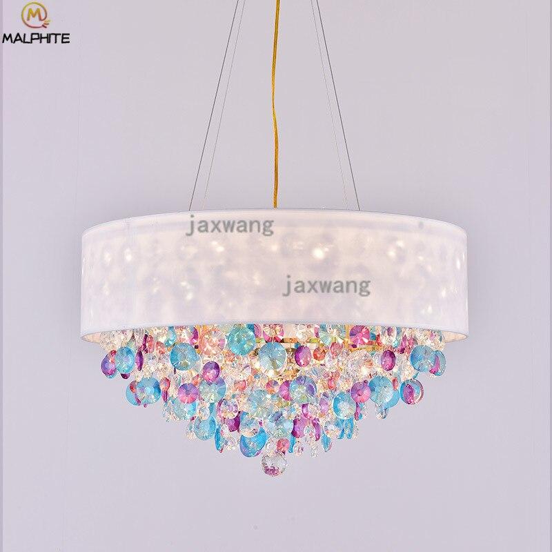 الحديثة قلادة Led أضواء الكريستال مصباح معلق بنات ديكور غرفة نوم luminaria المعيشة غرفة الطعام تركيبات الإضاءة غرفة
