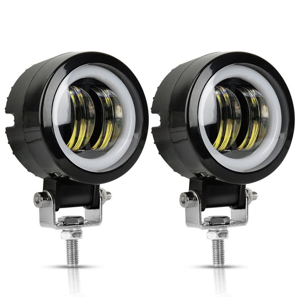 2PCS/1PC 12V-80V Waterproof Round  Angel Eyes LED light Portable Spotlights Motorcycle Offroad Truck Driving Car Boat Work Light