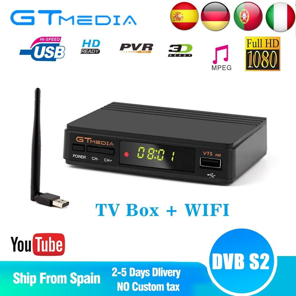 GTMedia-Receptor satélite V7S Receptor de satélite HD, DVB-S2 V7S Full HD 1080P + WIFI USB, compatible con CCCAM, actualización de Freesat V7
