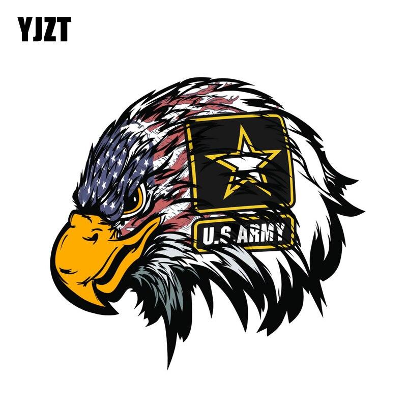 YJZT 15,5 см * 14,5 см креативный армейский американский флаг, наклейка на голову с орлом, ПВХ стикер для автомобиля 6-0323