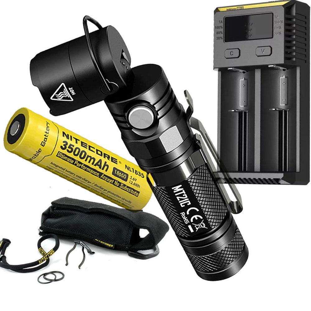 NITECORE MT21C Tactical Flashlight CREE XP-L HD V6 max 1000 lumen beam throw 184 meter 90 Degree Adjustable outdoor search torch