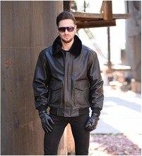 Livraison gratuite. Classique hiver chaud en cuir véritable veste. Eur taille G1 bomber peau de vache manteau, vêtements en cuir de vol pour hommes