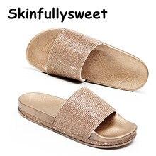 Grande taille cristal diamant pantoufles été femmes pantoufles Bling plage diapositives tongs dames sandales chaussures décontractées sans lacet diapositives