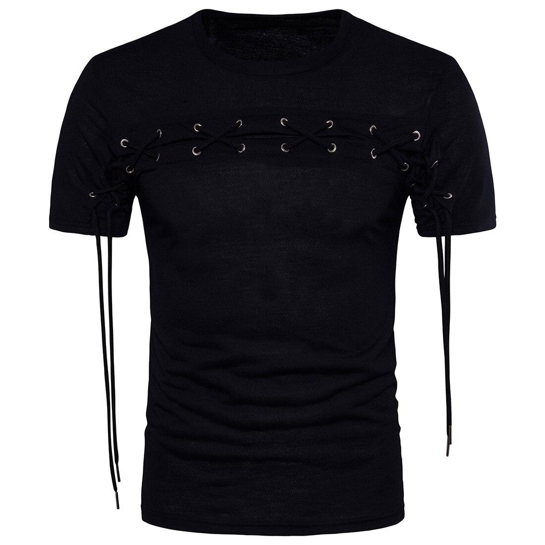 2019 camiseta para hombre cuello redondo y manga corta vestido de verano Color collision tether empalme negro nuevo Euro código masculino camiseta