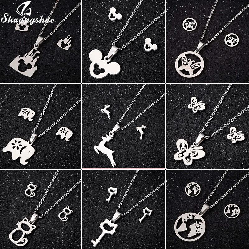 Shuangshuo, joyería de acero inoxidable, set de pendientes de Mickey para mujer, dibujo animado, Animal, gato, mariposa, collar con mapa, colgante, regalo de joyería